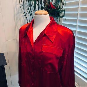 Red Satin Long sleeve blouse NWOT by Karen Scott
